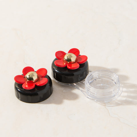 Black Red Daisy Contact Lens Case