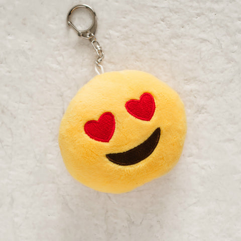 Heart Eyes Smiley Emoji Charm Keychain