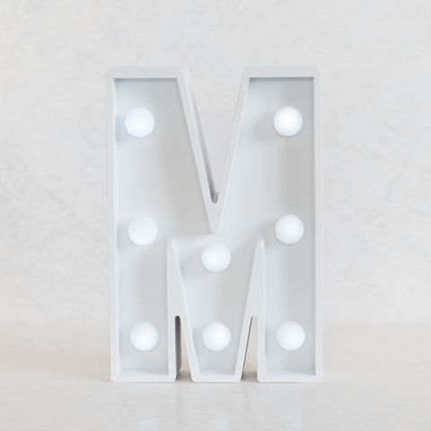 M Initial White Marquee Light