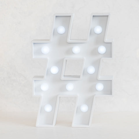 Hashtag White Marquee Light