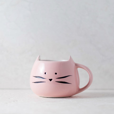 Cute Coffee Mug - Cat Shaped, Pink