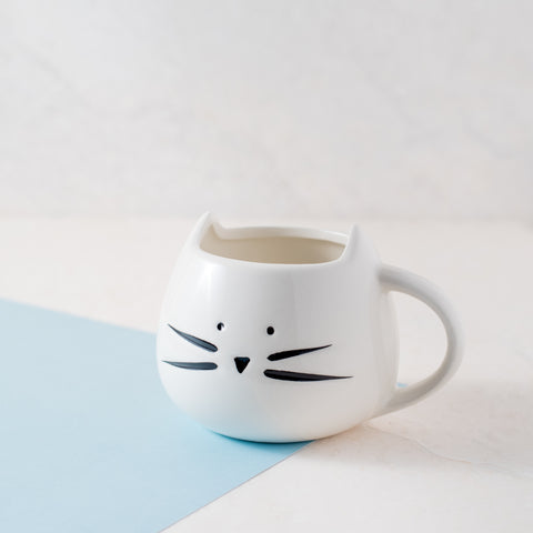 Cat Mug Set - Black And White Cermaic Cup