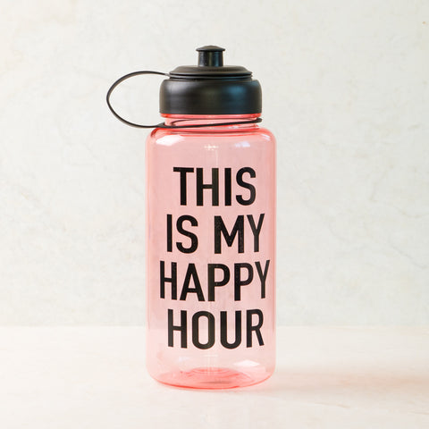 Happy Hour Pink Sports Water Bottle