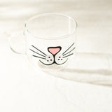 Cute Cat Face Glass Coffee Mug for Gift, Cat Lovers at Ankit