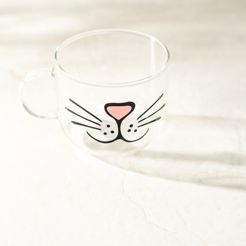 Cat Face Mug - Glass Painted