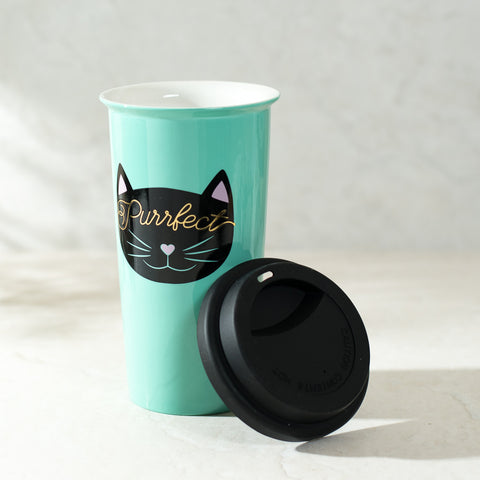 Travel Coffee Mugs Coffee Tumbler - Purrfect Cat Cup