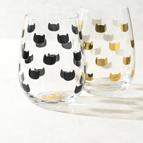 Kitty Head Stemless Wine Glasses