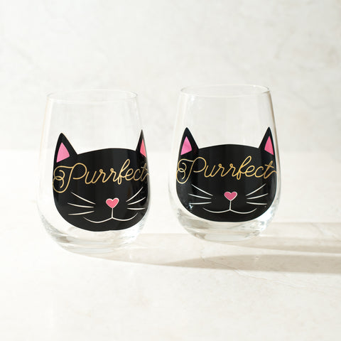Purrfect Stemless Wine Glasses