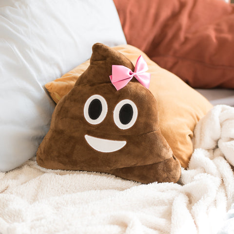 Poop Bow Brown Throw Pillow