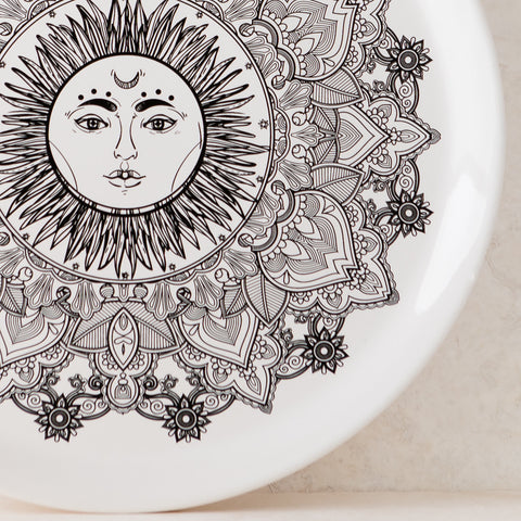 Sun Medallion White Ceramic Plate Set