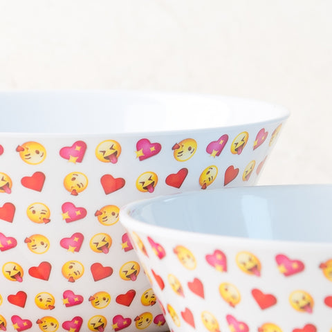 Multi Emoji White Cereal Bowl Set