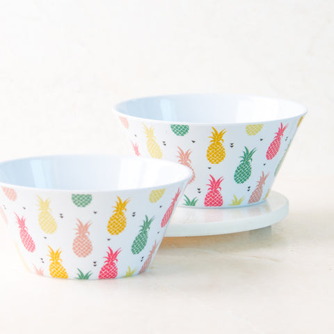 Multi Pineapple White Cereal Bowl Set