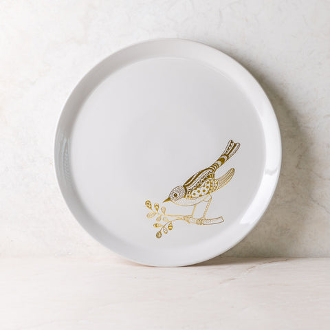 Birdy White Ceramic Plate Set