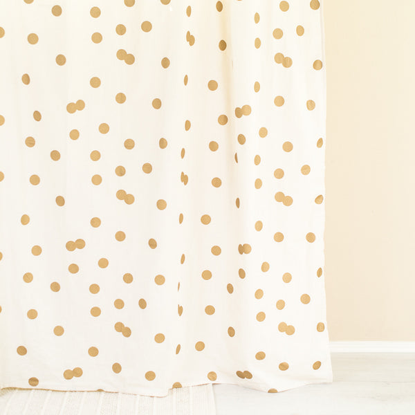 Ankit Gold Polka Dot Bathroom Shower Curtain
