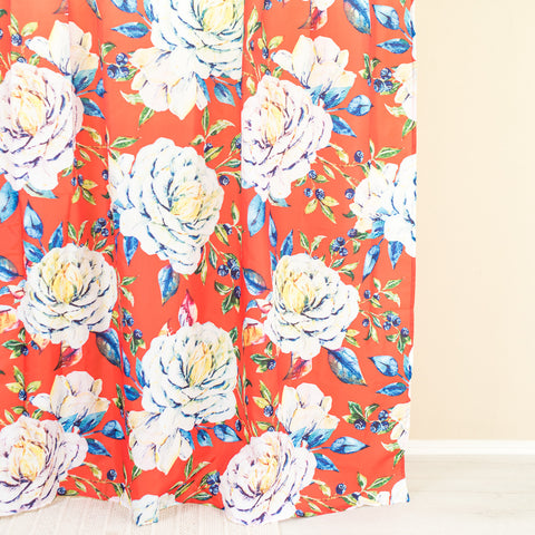 Flower Orange & White Shower Curtain