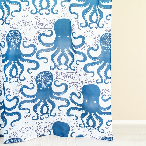 Octopus Blue & White Shower Curtain