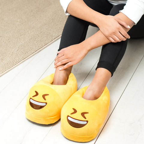 Straight Face Emoji Slippers