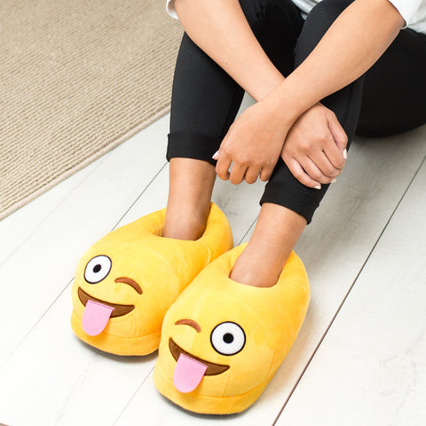 Tongue Out Emoji Slippers