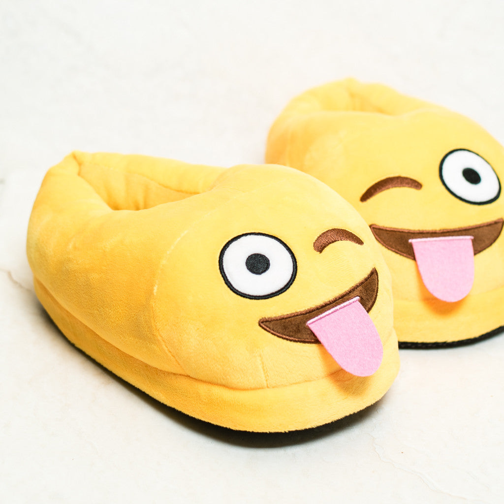 93212a6c259 Tongue Out Emoji Slippers