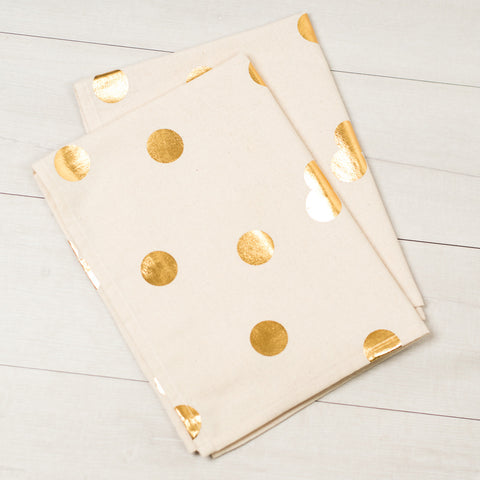 Gold Polka Dot Tea Towels (Set of 2)