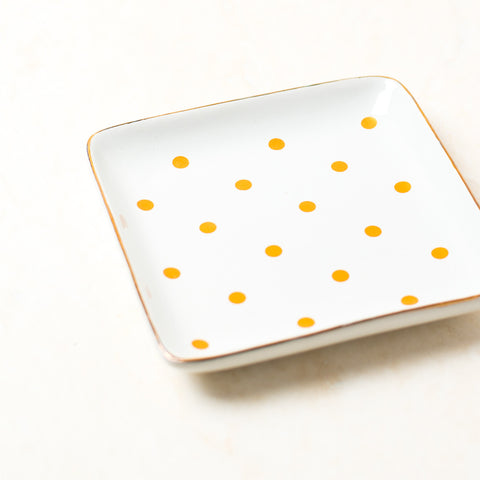 Polka Dot Yellow & White Jewelry Tray