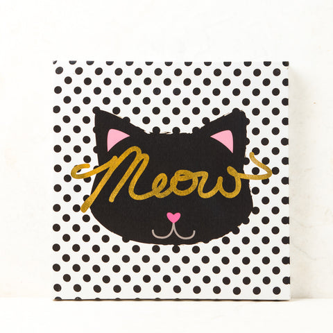 Meow Polka Dot Wall Canvas