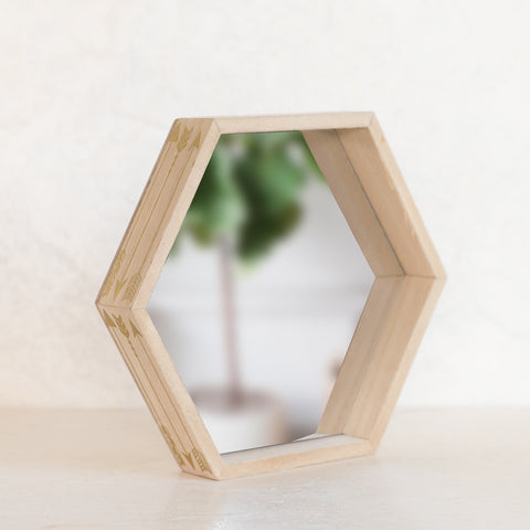 Gold Feathers Hexagon Mirror