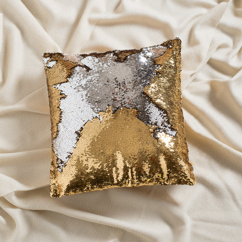 Mermaid Pillow Reversible Sequin Pillow that Changes color by Ankit - Gold Silver