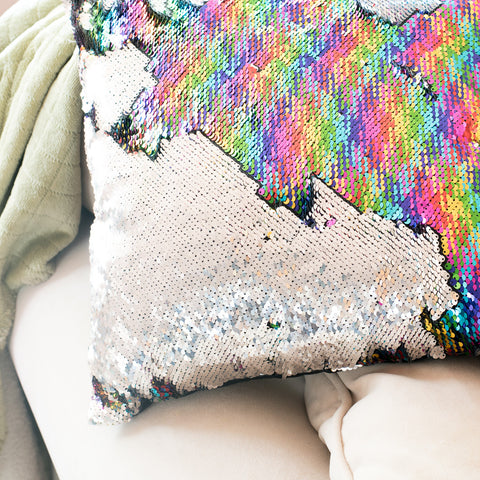 Mermaid Pillow Reversible Sequin Pillow that Changes color by Ankit - Holographic Rainbow Silver
