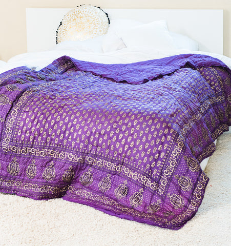 Purple Gold Lotus Quilt