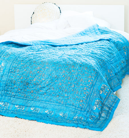 Elephant Blue & Gold Quilt