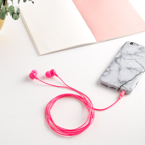 Cute Neon pink earbuds at shopankit