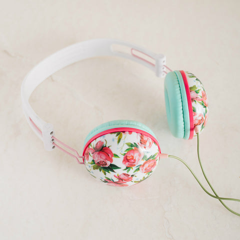 Pastel Teal Floral Noise Isolating Headphones