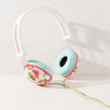 Ankit Fat Bass Over the Ear Noise Isolating Cute Pastel Pink Floral Headphones, iPhone, Android Compatible