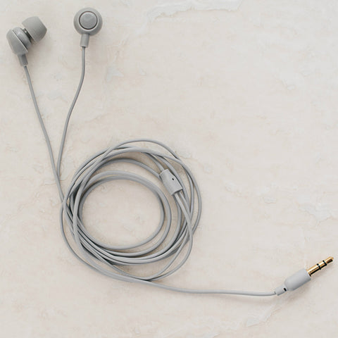 Grey earbuds