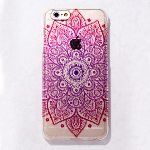 Clear Ombre Mandala Boho Indian  iPhone 6S/ 6 case