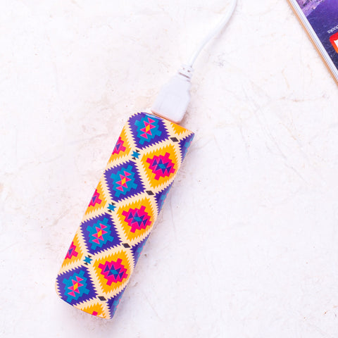 Geo Print Blue & Orange Portable Charger/Power Bank
