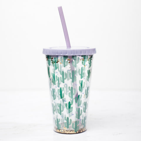 Cactus Gold Green Tumbler with Straw