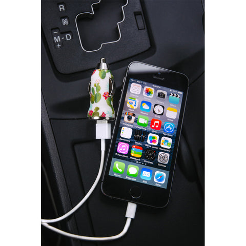 Cream Cactus USB Car Charger