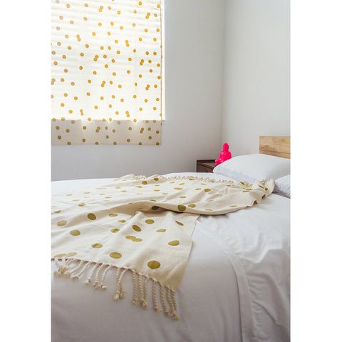 Gold Polka Dot Decorative Throw Blanket