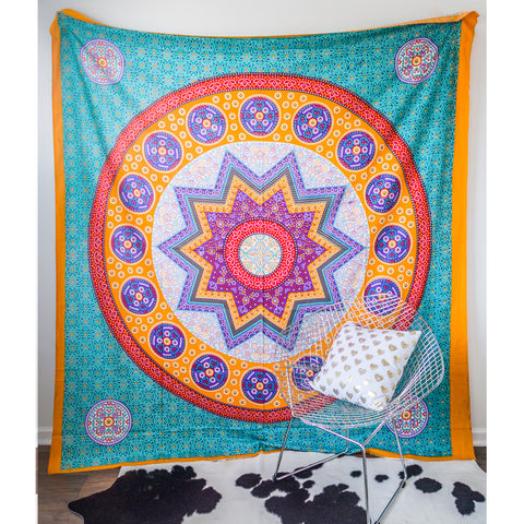 Star Medallion Blue Tapestry