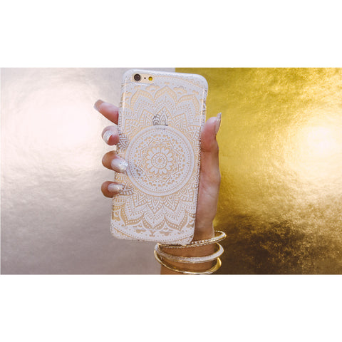 Clear White Chevron Mandala iPhone 6 Plus Case