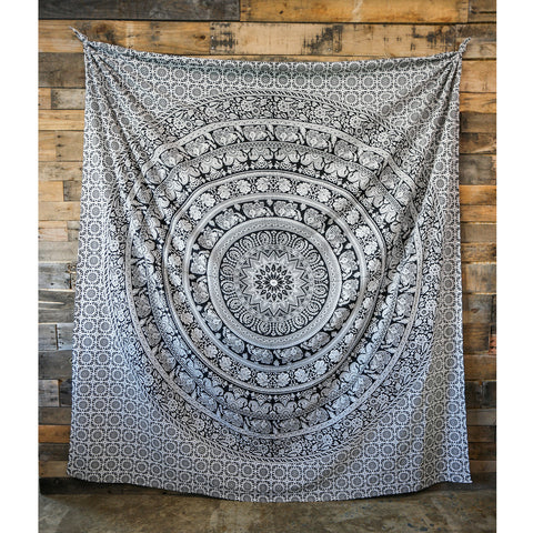 Elephant Mandala Black & White Tapestry