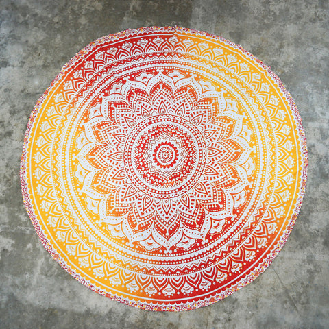 Fire Ombre Round Mandala Wall Tapestry