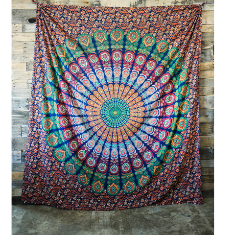 Floral Green Multicolor Wall Tapestry