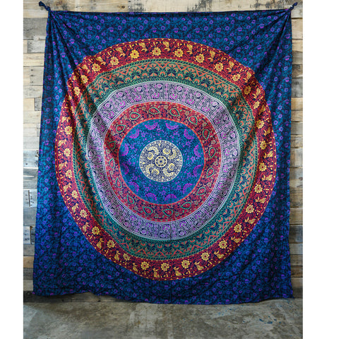Floral Mandala Multicolor Wall Tapestry