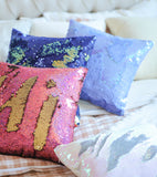 Blue Gold Holographic Mermaid Pillow