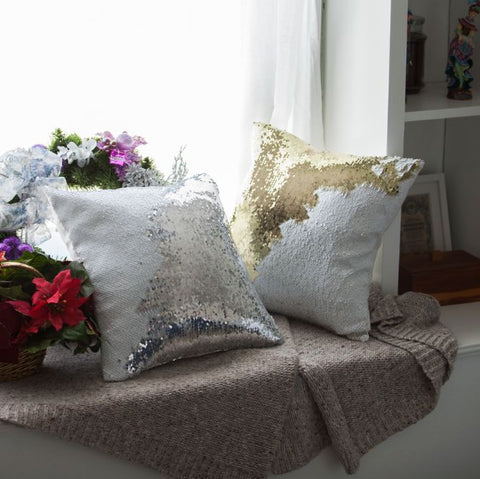 Christmas Pillow Cover Pack of 4 - White Gold & Silver