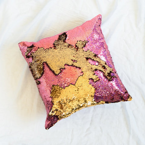 Mermaid Pillow Reversible Sequin Pillow that Changes color by Ankit - Holographic Pink Gold