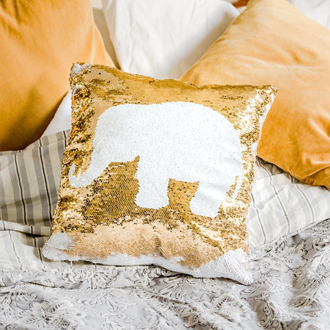 White Blue Unicorn Sequin Pillow